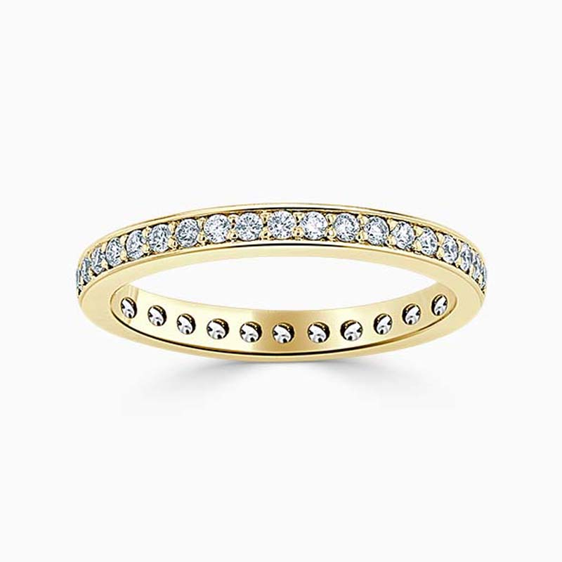 18ct Yellow Gold 2.25mm Round Brilliant Pavé Set Full Eternity Ring