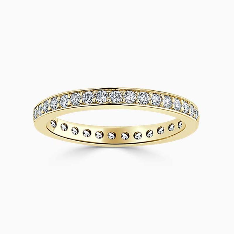 18ct Yellow Gold 2.50mm Round Brilliant Pavé Set Full Eternity Ring
