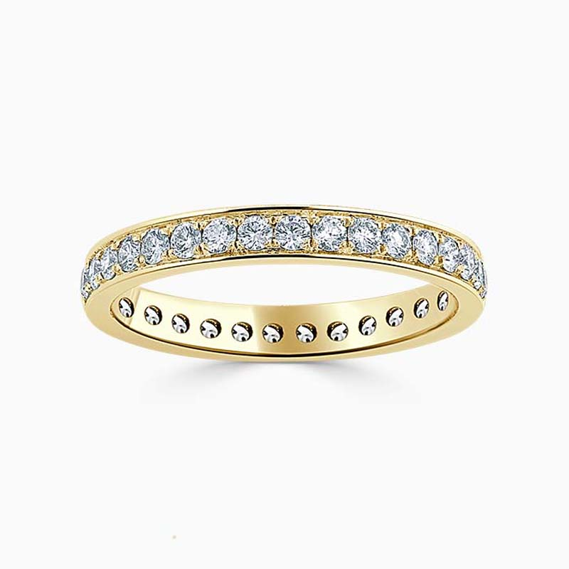 18ct Yellow Gold 2.75mm Round Brilliant Pavé Set Full Eternity Ring