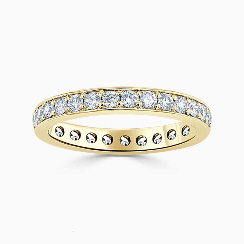 18ct Yellow Gold 3.25mm Round Brilliant Pavé Set Full Eternity Ring