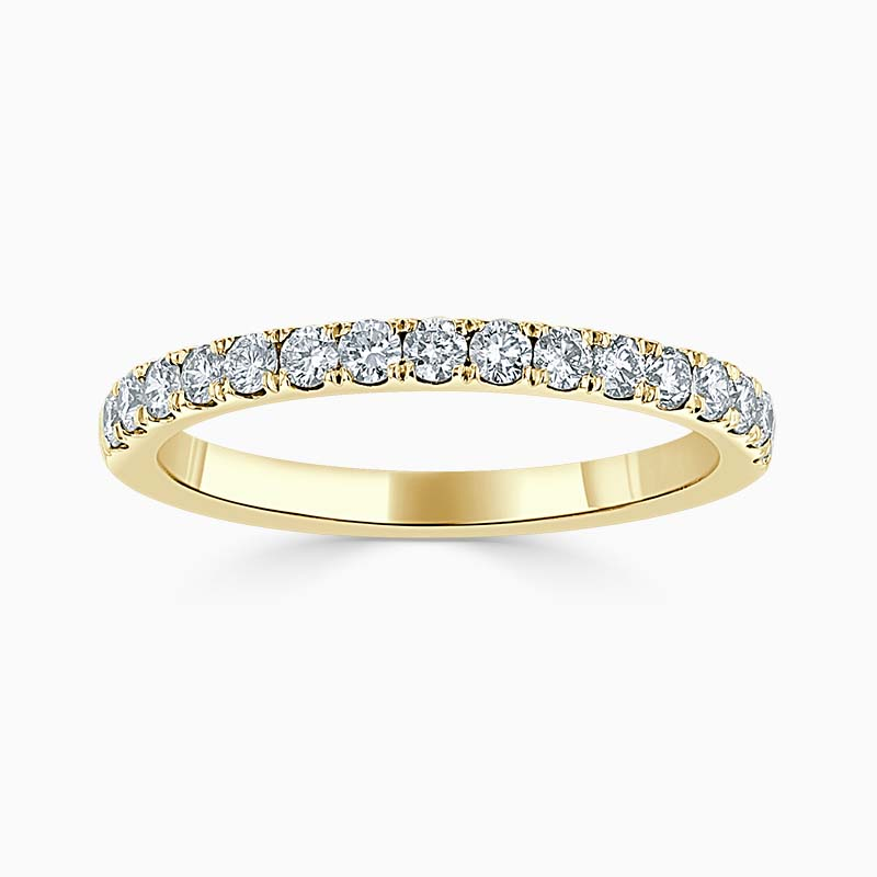 18ct Yellow Gold 2.00mm Round Brilliant Cutdown Set Half Eternity Ring