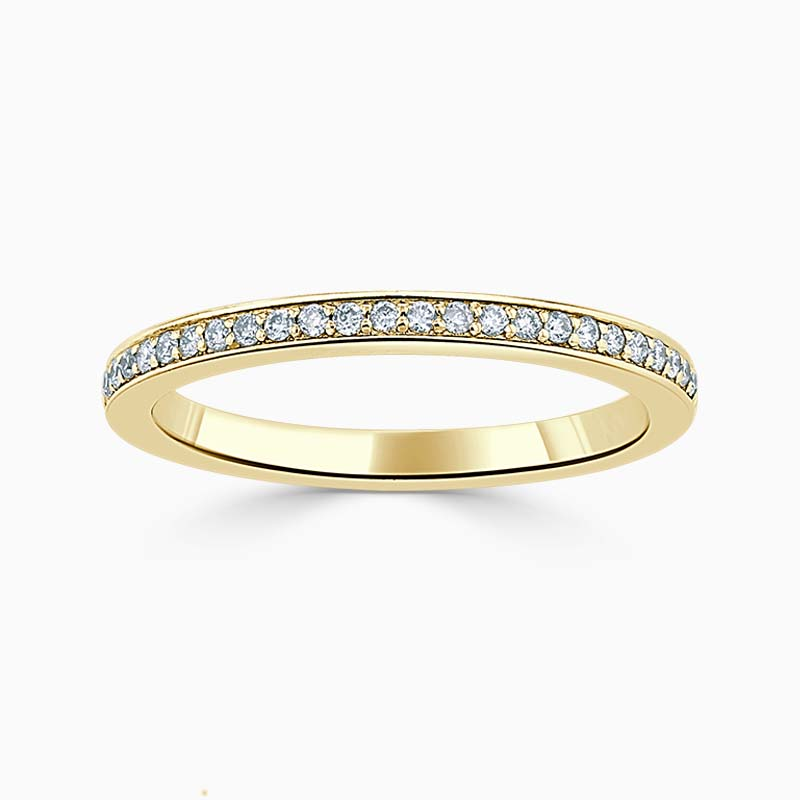 18ct Yellow Gold 2.00mm Round Brilliant Pavé Set Half Eternity Ring