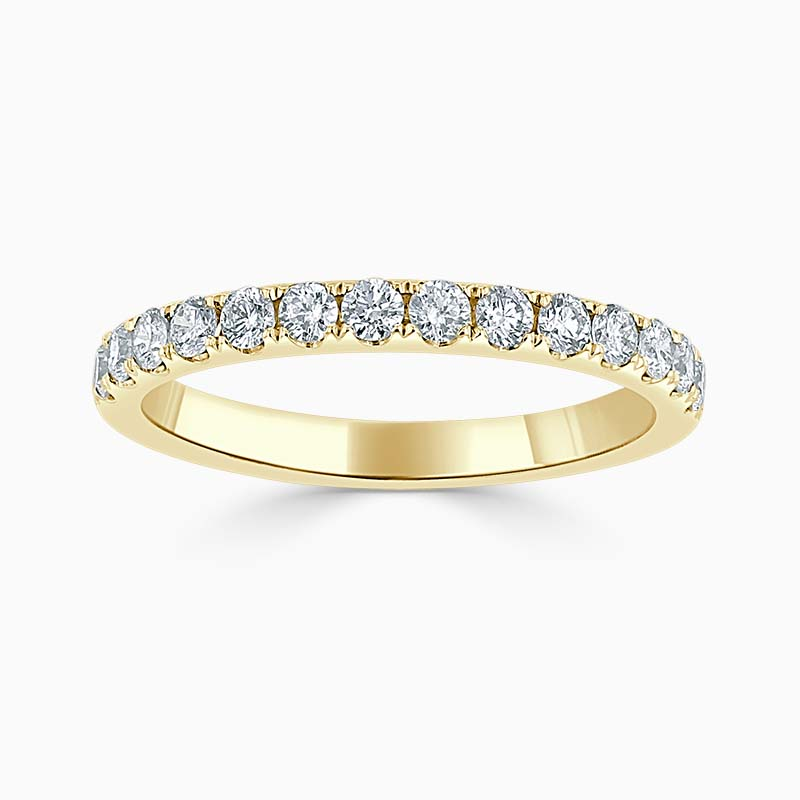 18ct Yellow Gold 2.25mm Round Brilliant Cutdown Set Half Eternity Ring