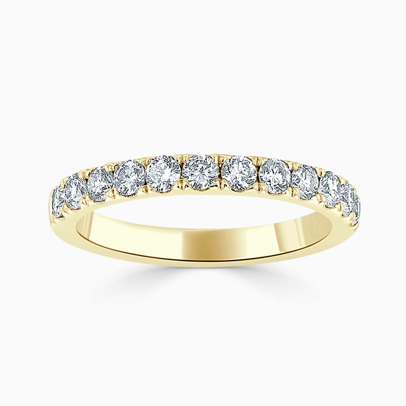 18ct Yellow Gold 2.50mm Round Brilliant Cutdown Set Half Eternity Ring
