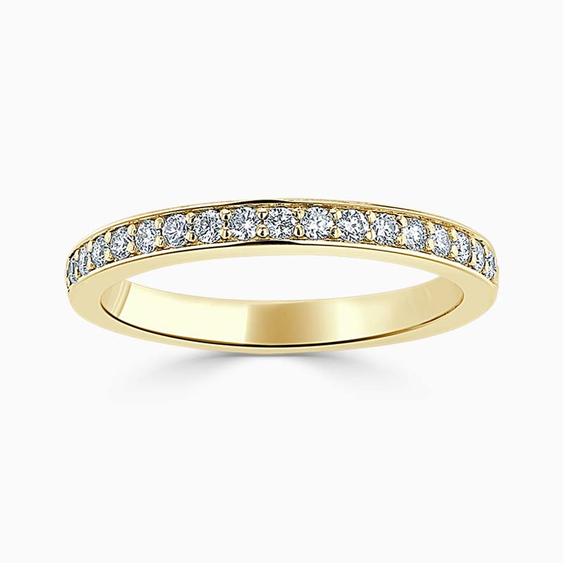18ct Yellow Gold 2.50mm Round Brilliant Pavé Set Half Eternity Ring