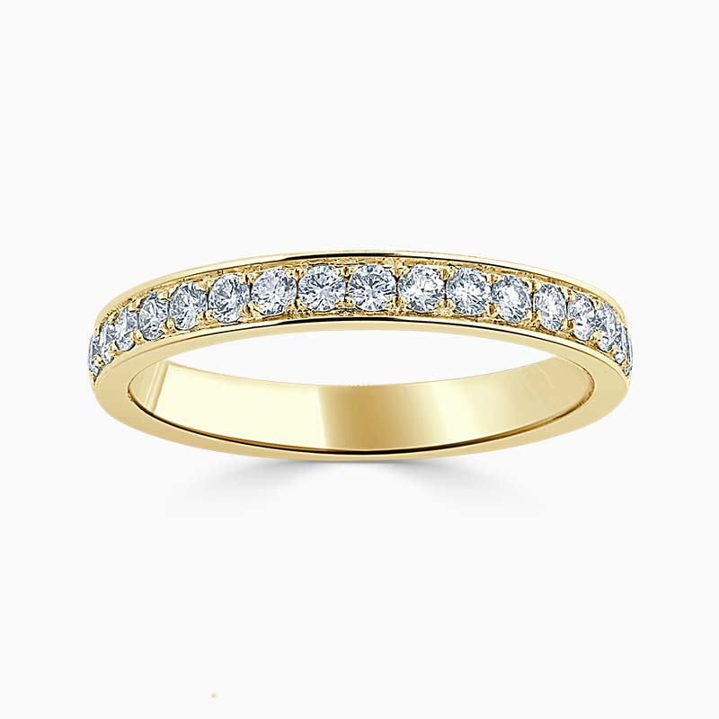18ct Yellow Gold 2.75mm Round Brilliant Pavé Set Half Eternity Ring