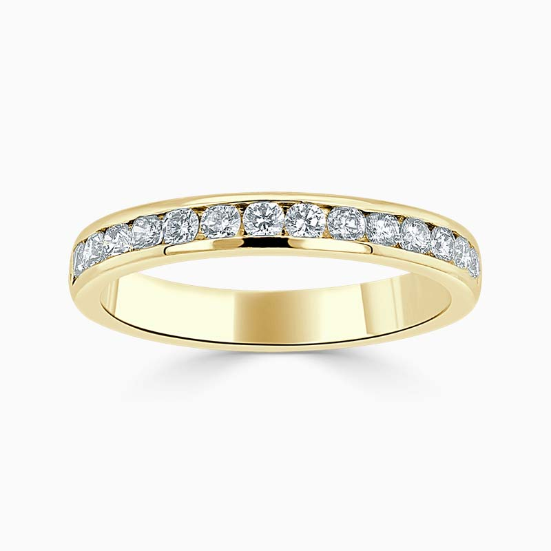 18ct Yellow Gold 3.00mm Round Brilliant Channel Set Half Eternity Ring
