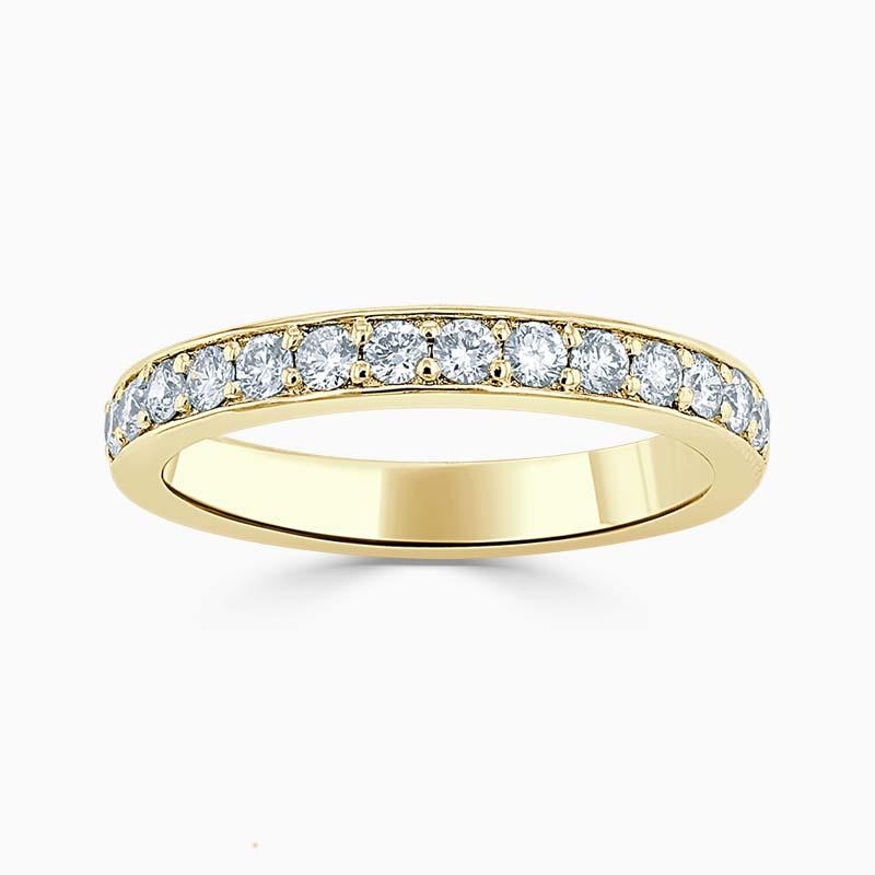 18ct Yellow Gold 3.00mm Round Brilliant Pavé Set Half Eternity Ring