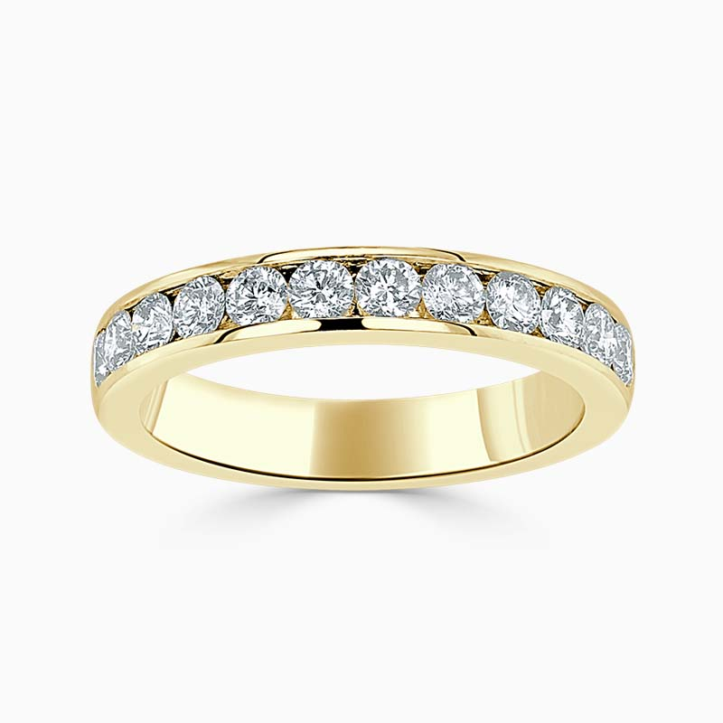 18ct Yellow Gold 3.50mm Round Brilliant Channel Set Half Eternity Ring