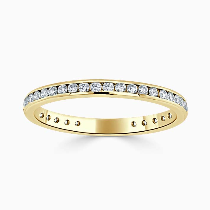 18ct Yellow Gold 2.00mm Round Brilliant Channel Set Three Quarter Eternity Ring