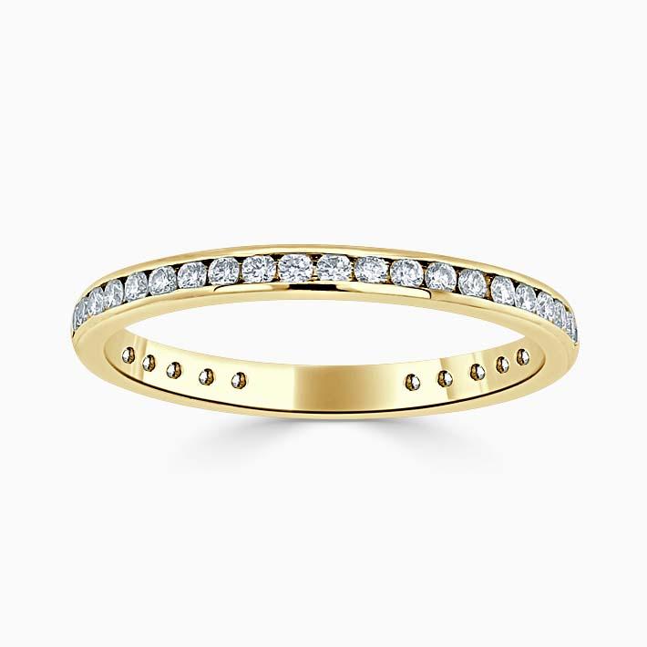 18ct Yellow Gold 2.00mm Round Brilliant Channel Set Three Quarter Eternity Ring