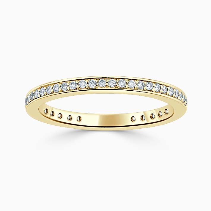 18ct Yellow Gold 2.00mm Round Brilliant Pavé Set Three Quarter Eternity Ring