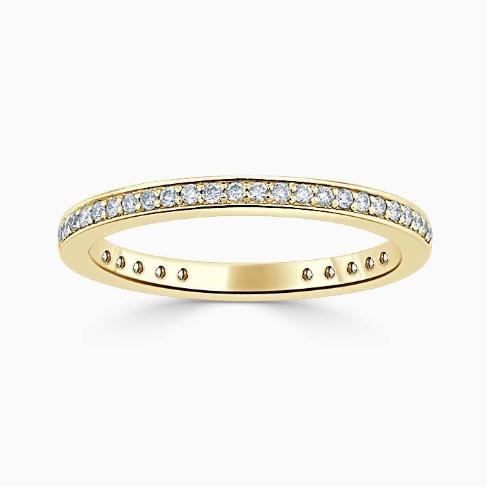18ct Yellow Gold 2.00mm Round Brilliant Pavé Set Three Quarter Eternity Ring