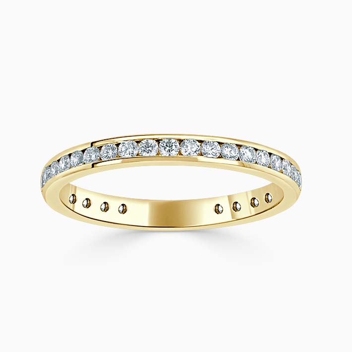 18ct Yellow Gold 2.25mm Round Brilliant Channel Set Three Quarter Eternity Ring