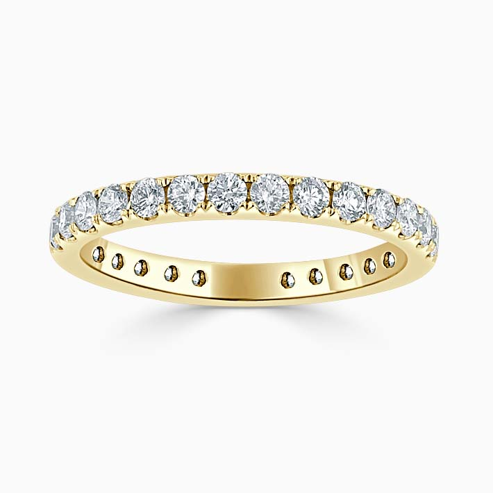 18ct Yellow Gold 2.25mm Round Brilliant Cutdown Set Three Quarter Eternity Ring