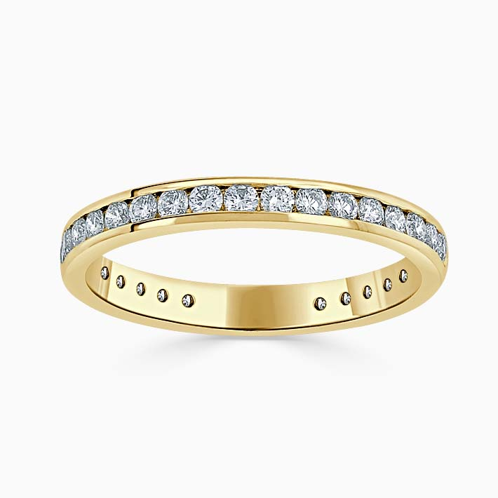 18ct Yellow Gold 2.50mm Round Brilliant Channel Set Three Quarter Eternity Ring