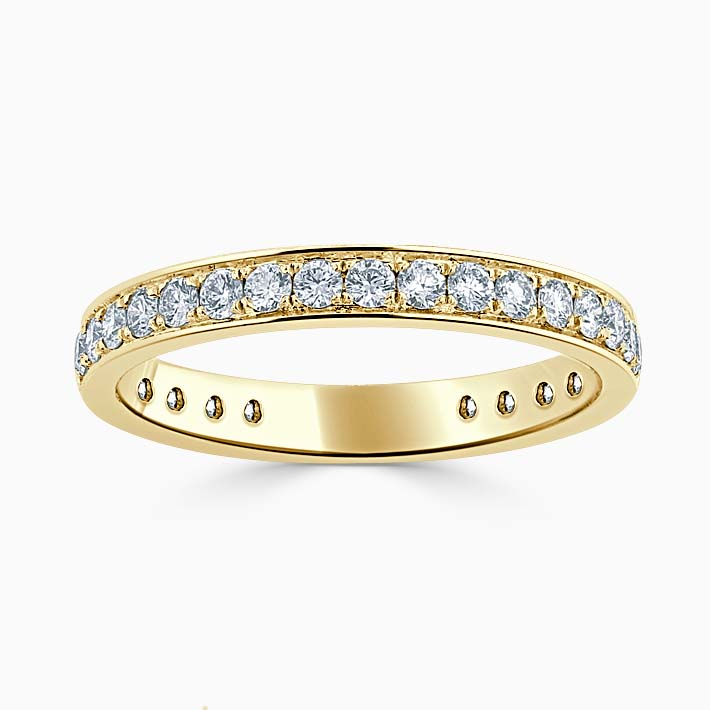 18ct Yellow Gold 2.75mm Round Brilliant Pavé Set Three Quarter Eternity Ring