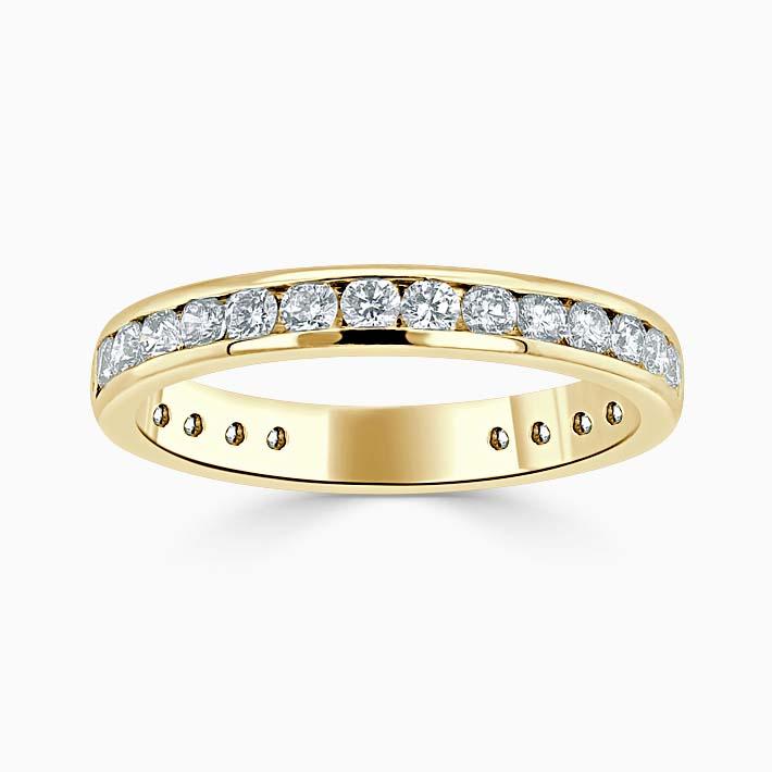 18ct Yellow Gold 3.00mm Round Brilliant Channel Set Three Quarter Eternity Ring
