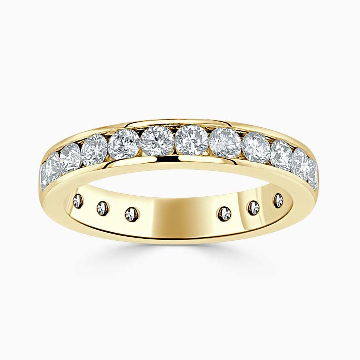 18ct Yellow Gold 3.50mm Round Brilliant Channel Set Three Quarter Eternity Ring