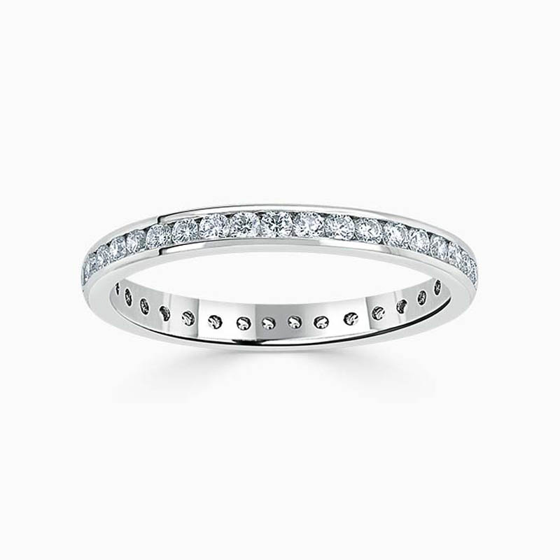 Platinum 2.25mm Round Brilliant Channel Set Full Eternity Ring