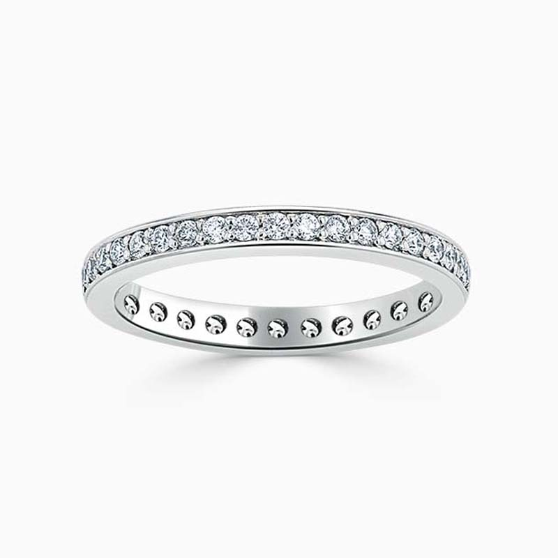 Platinum 2.25mm Round Brilliant Pavé Set Full Eternity Ring