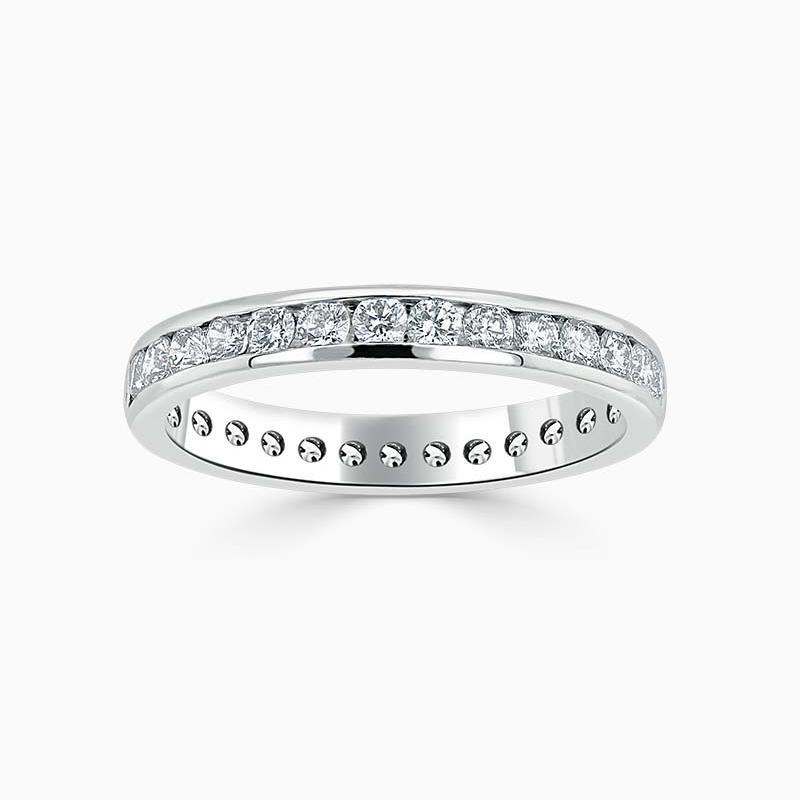 Platinum 3.00mm Round Brilliant Channel Set Full Eternity Ring