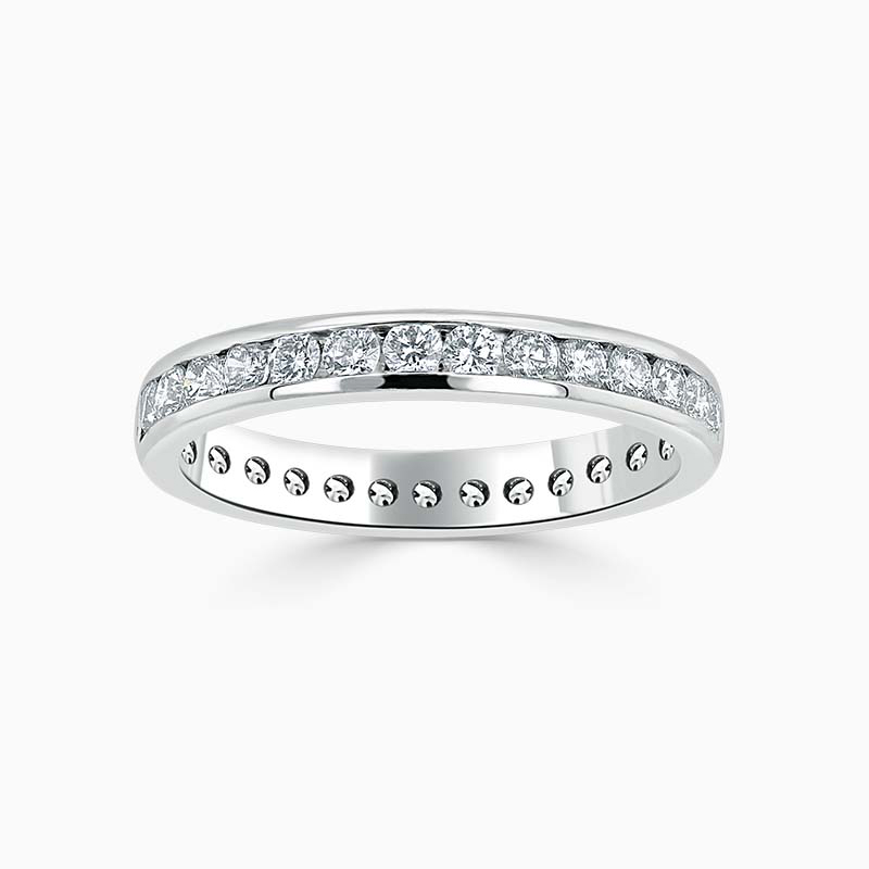 Platinum 3.25mm Round Brilliant Channel Set Full Eternity Ring