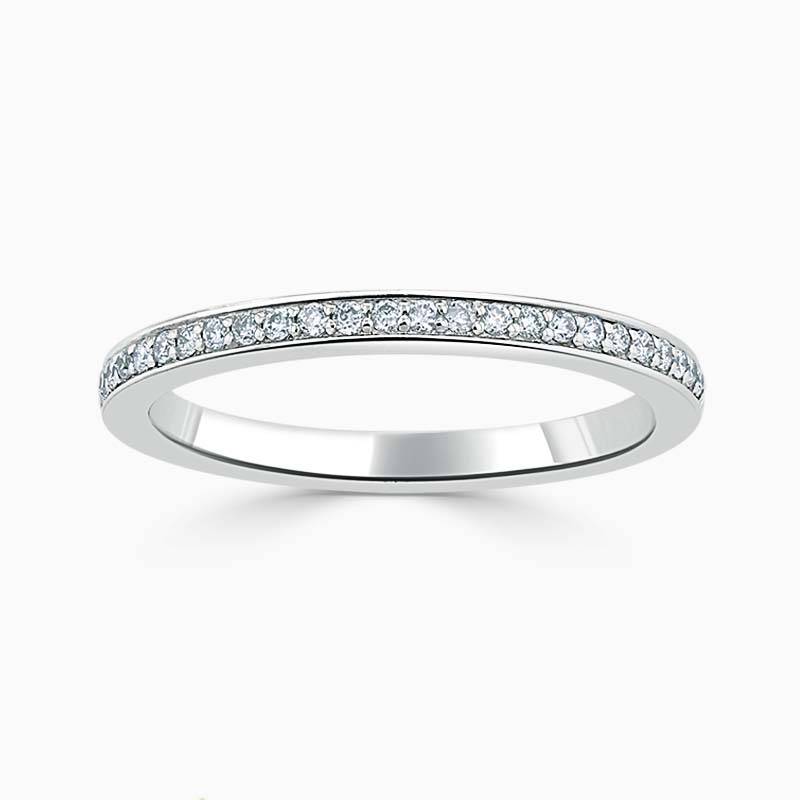 Platinum 2.00mm Round Brilliant Pavé Set Half Eternity Ring