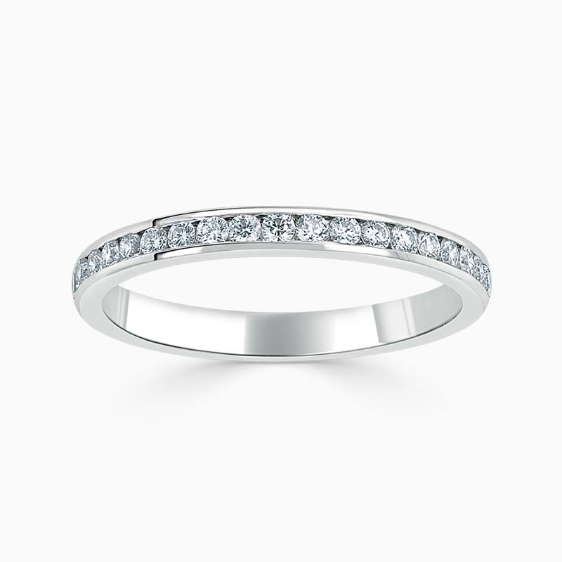 Platinum 2.25mm Round Brilliant Channel Set Half Eternity Ring