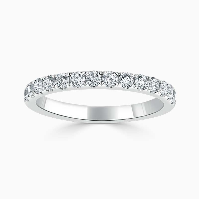 Platinum 2.25mm Round Brilliant Cutdown Set Half Eternity Ring