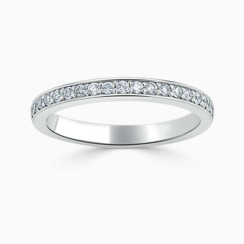 Platinum 2.25mm Round Brilliant Pavé Set Half Eternity Ring