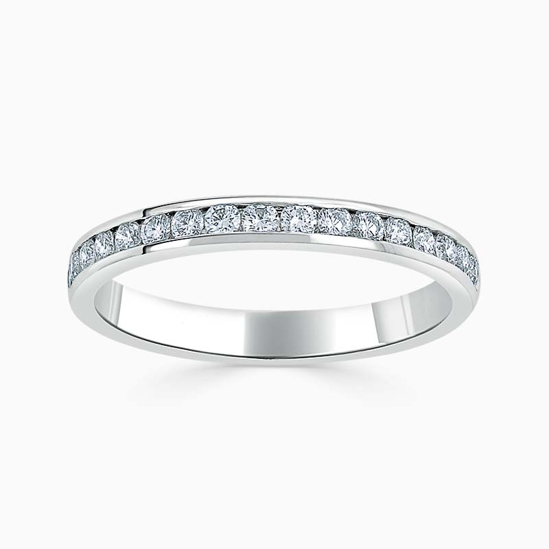 Platinum 2.50mm Round Brilliant Channel Set Half Eternity Ring