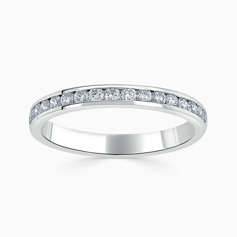 Platinum 2.50mm Round Brilliant Channel Set Half Eternity Ring
