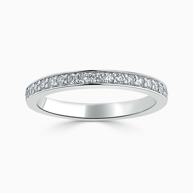 Platinum 2.50mm Round Brilliant Pavé Set Half Eternity Ring
