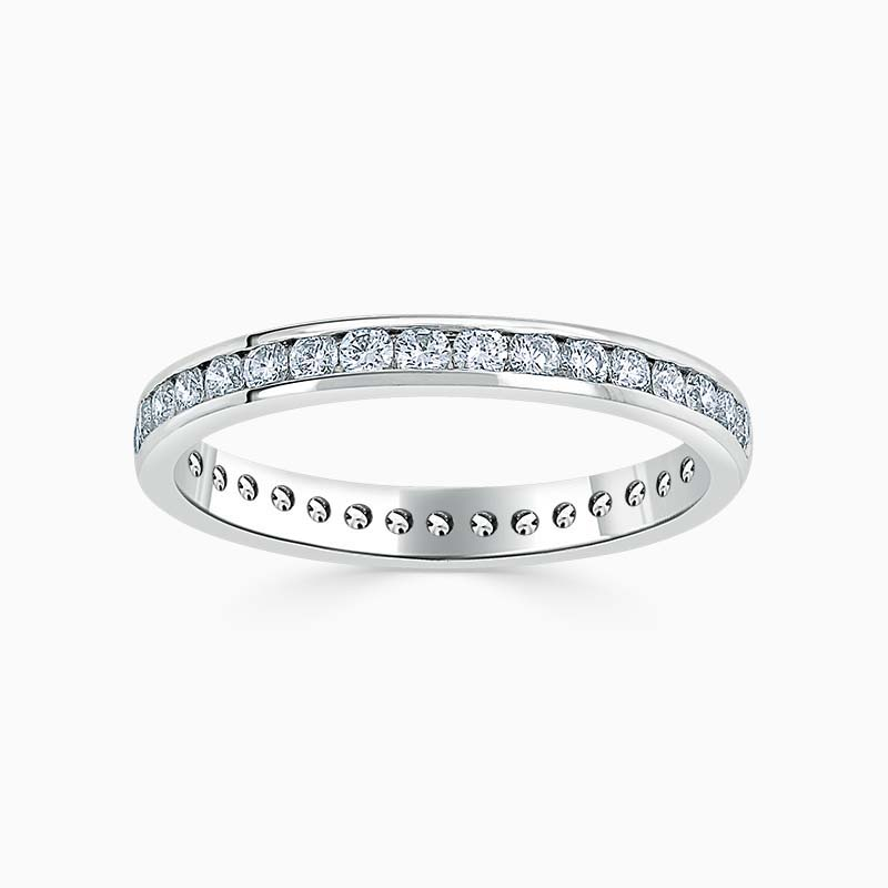 Platinum 2.75mm Round Brilliant Channel Set Half Eternity Ring