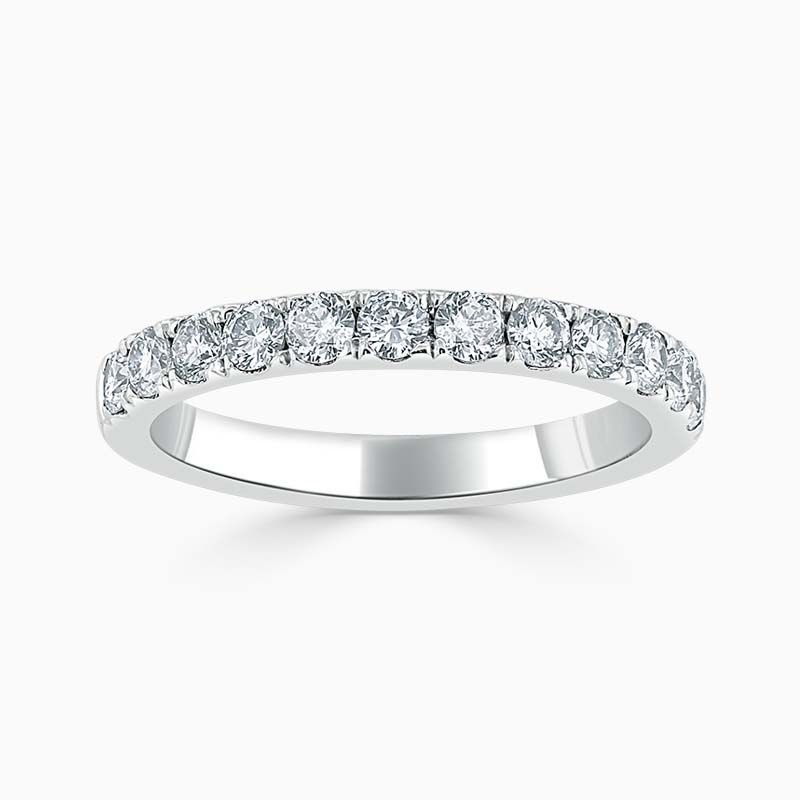 Platinum 2.75mm Round Brilliant Cutdown Set Half Eternity Ring