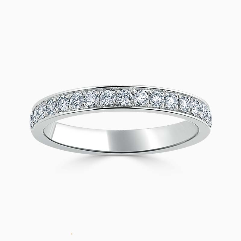 Platinum 2.75mm Round Brilliant Pavé Set Half Eternity Ring