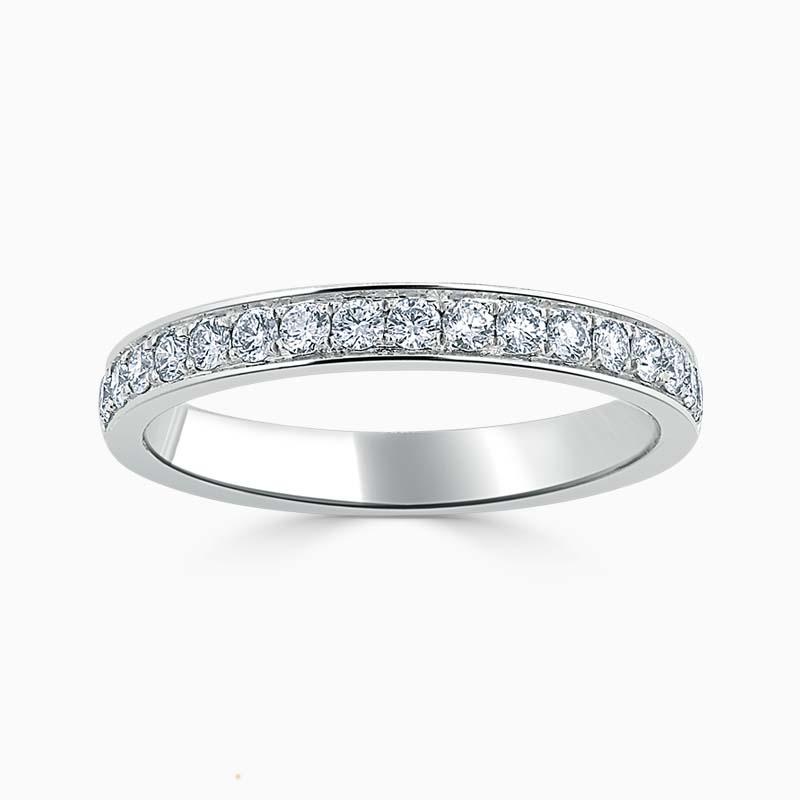 Platinum 2.75mm Round Brilliant Pavé Set Half Eternity Ring