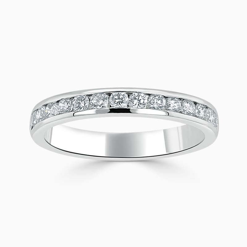 Platinum 3.00mm Round Brilliant Channel Set Half Eternity Ring