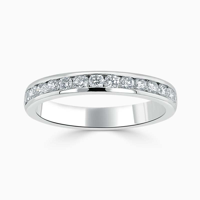 Platinum 3.00mm Round Brilliant Channel Set Half Eternity Ring