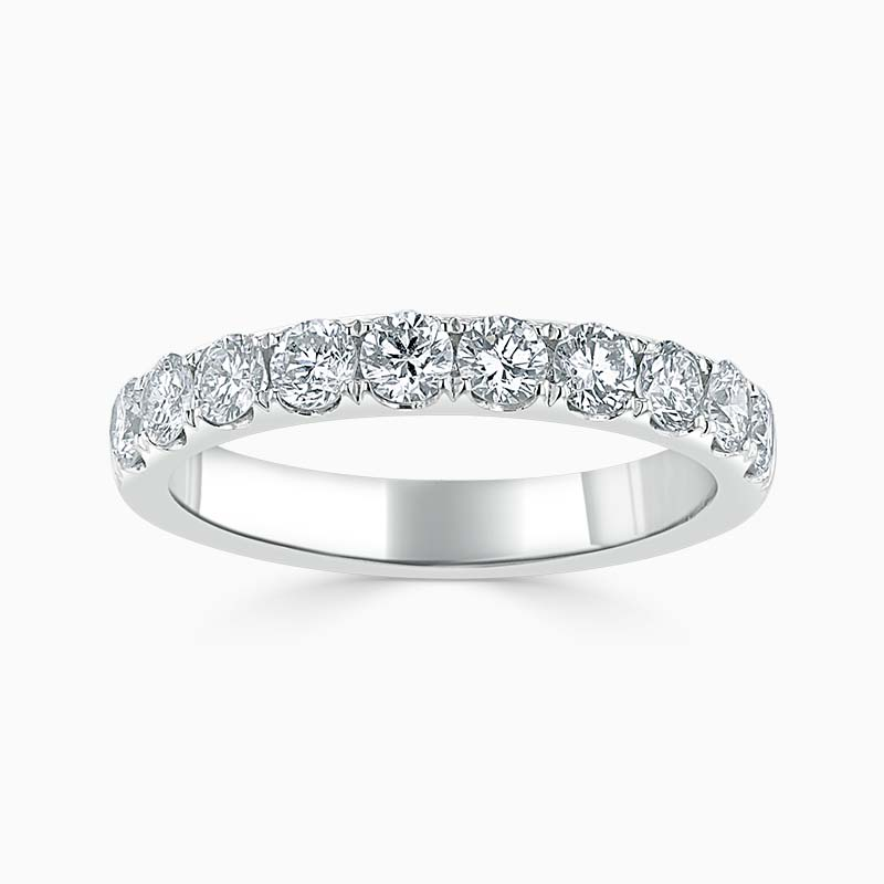 Platinum 3.00mm Round Brilliant Cutdown Set Half Eternity Ring