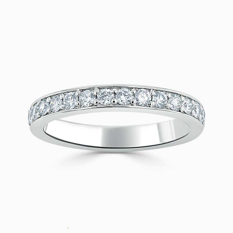 Platinum 3.00mm Round Brilliant Pavé Set Half Eternity Ring