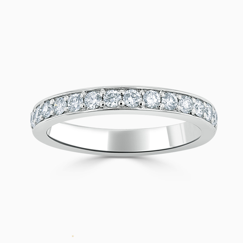Platinum 3.25mm Round Brilliant Pavé Set Half Eternity Ring