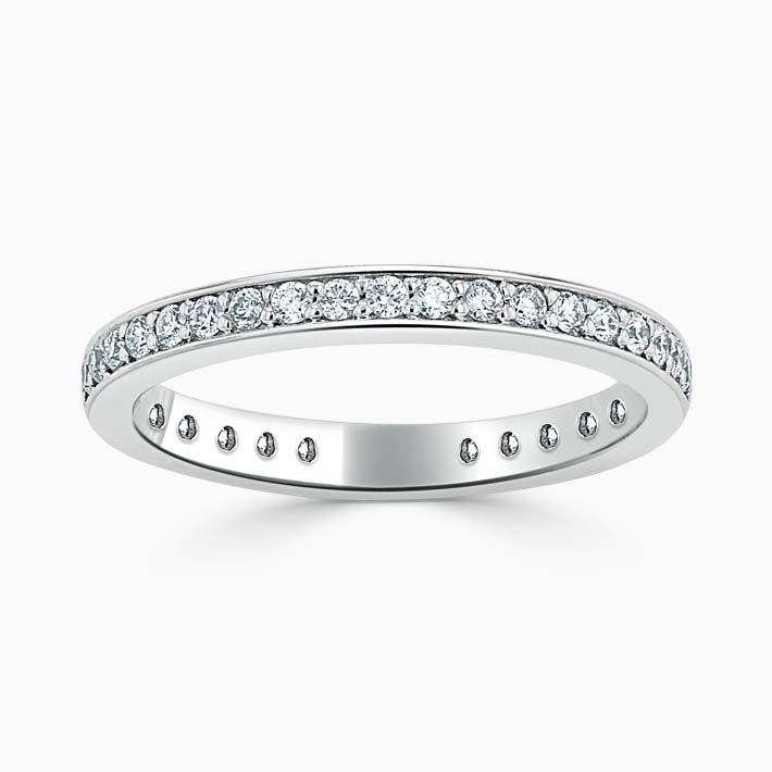 Platinum 2.25mm Round Brilliant Pavé Set Three Quarter Eternity Ring