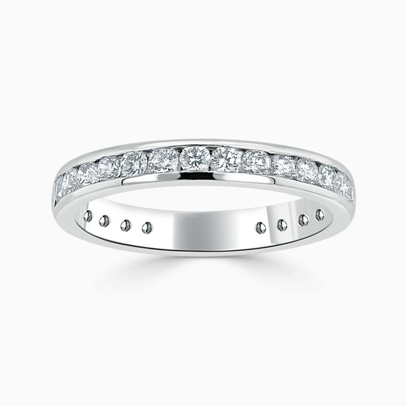 Platinum 3.00mm Round Brilliant Channel Set Three Quarter Eternity Ring