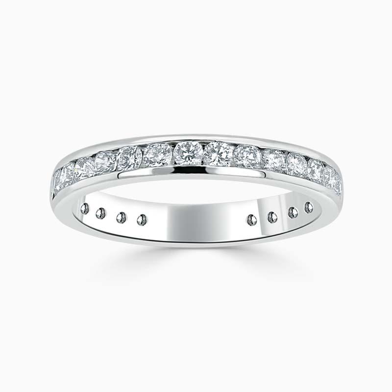 Platinum 3.00mm Round Brilliant Channel Set Three Quarter Eternity Ring
