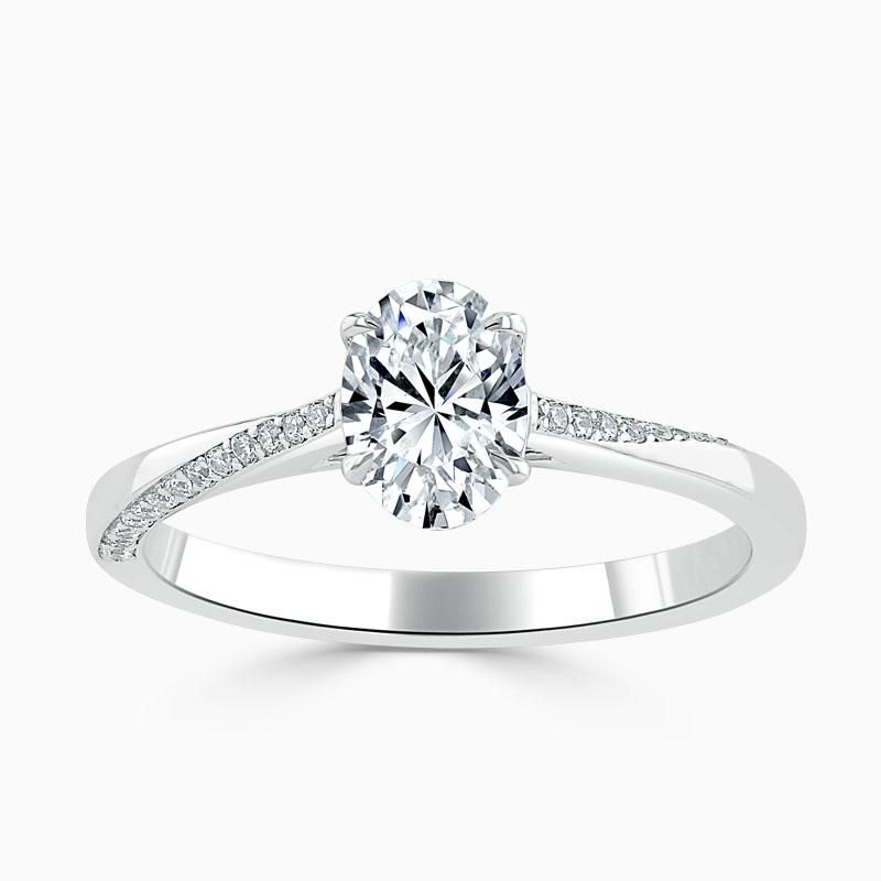 Platinum Oval Shape Vortex Engagement Ring