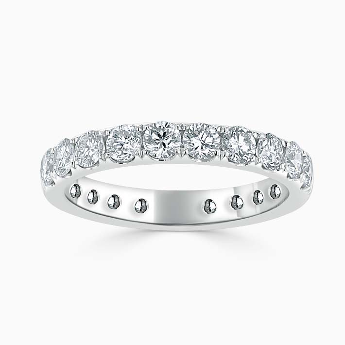 Platinum 3.00mm Round Brilliant Cutdown Set Three Quarter Eternity Ring
