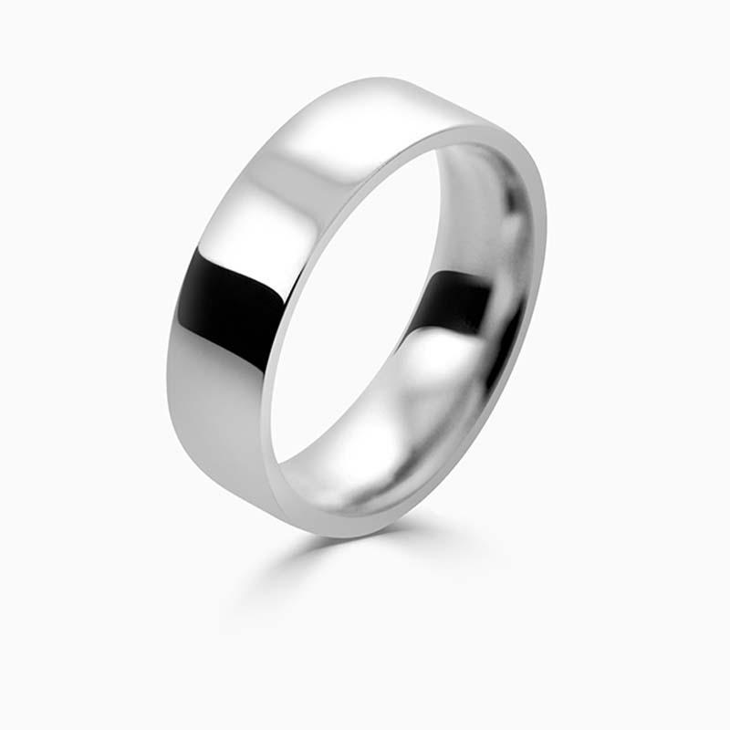 18ct White Gold 6mm Flat Court Flat Edge Medium Weight Wedding Ring