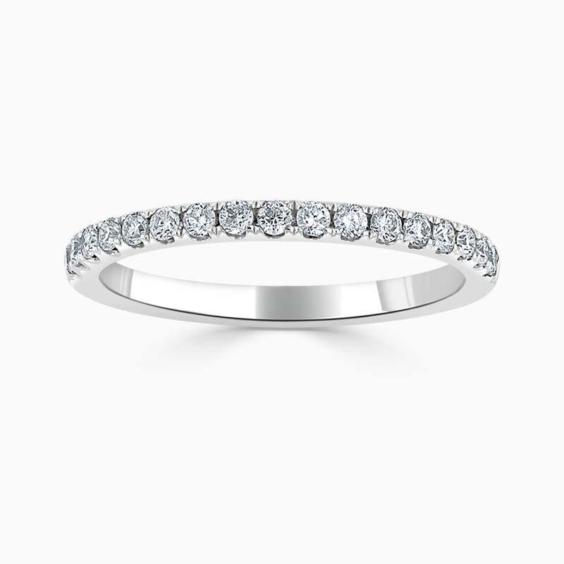 18ct White Gold 1.80mm Round Brilliant Cutdown Set Half Eternity Ring - Size M